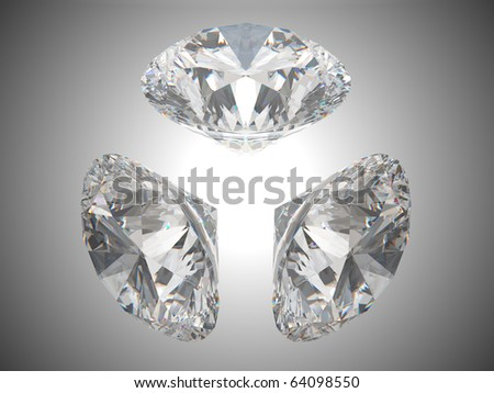Three brilliant cut diamonds or gems. Over grey background - stock photo