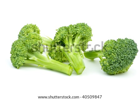 Three broccoli pieces isolated on the white background