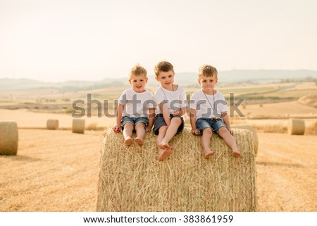 three brothers sitting on a haystack in a field in summer - stock photo