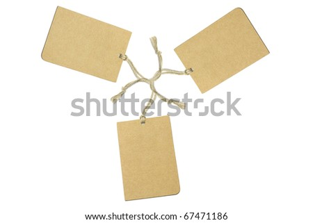 Three brown tags arranged on white background
