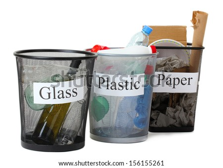Three buckets of assorted debris isolated on white - stock photo