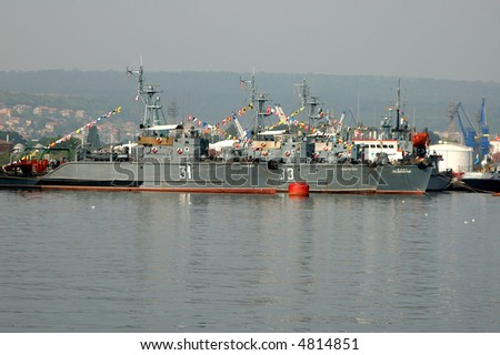Three Bulgarian minesweepers in the Navy port of Varna, Bulgaria