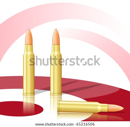 Three bullets and target. Raster version of vector illustration (id: 62720830) - stock photo