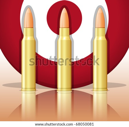Three bullets and target. Raster version of vector illustration (id: 62238352) - stock photo