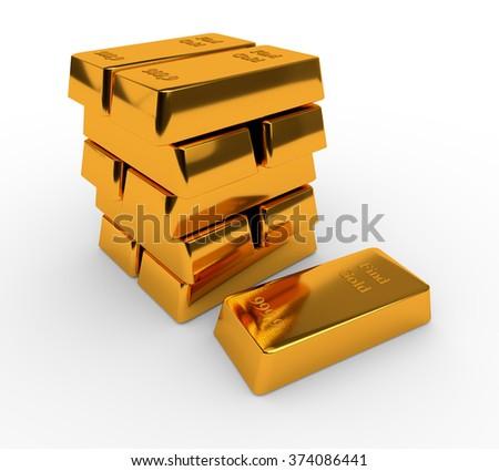 Three bullions of gold isolated on white background - stock photo