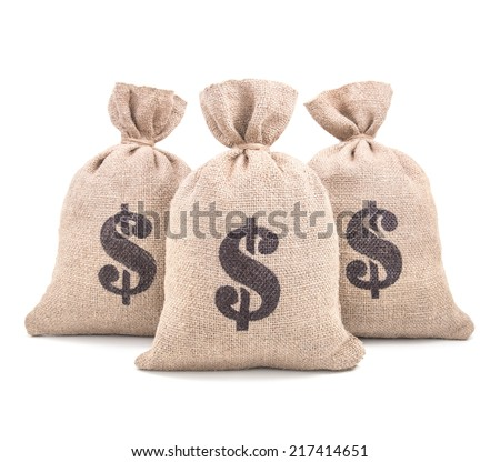 Three burlap money bags with dollar symbol print tied with a string isolated on white background - stock photo