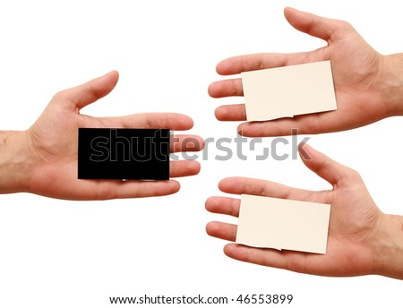three business cards in hand. white and black - stock photo