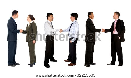 Three business couples shaking hands isolated