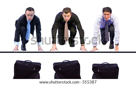 three business men having a race for their briefcases - stock photo