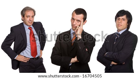 three business men isolated on white, focus on the center man