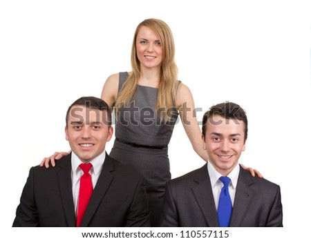 Three business people forming a stable triangle arrangement, isolated on white