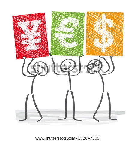 Three business people holding up signs with currency symbols - stock photo