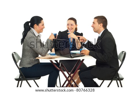 Three business people in a coffee break having funny conversation isolate don white background