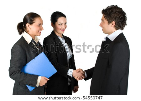 Three business people successful give handshake at meeting  ,one of the woman holding the blue folder with contract - stock photo