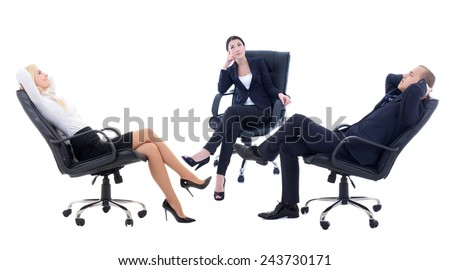 three business persons sitting on office chairs isolated on white background - stock photo