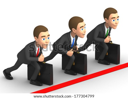 three businessmen at the start - stock photo