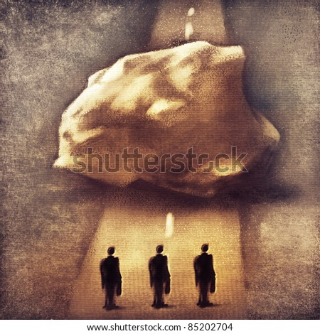 three businessmen & obstacle - metaphor (symbolic loose painting) - stock photo