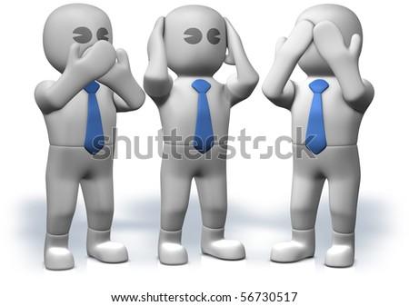 Three businessmen who act three famous monkeys - stock photo