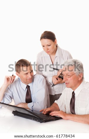 Three businessmen working together on a white