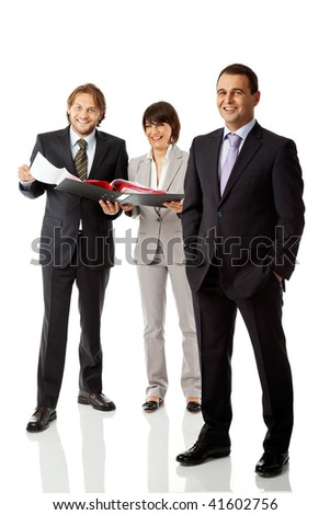 three businesspeople isolated on white smiling, looking at camera - stock photo
