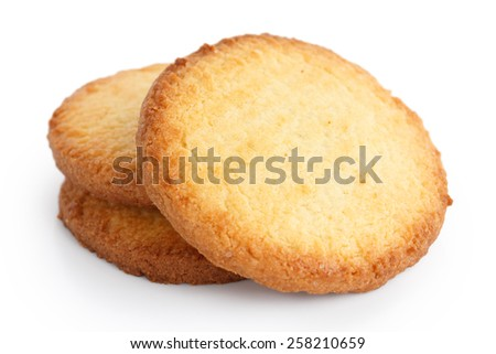 Three butter biscuits on white. - stock photo
