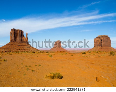 Three Buttes of Monument Valley, Utah, USA - stock photo