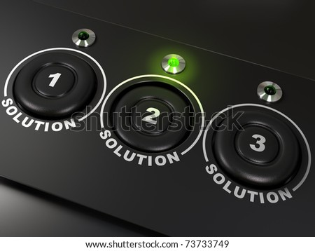 Three buttons labelled 1, 2, 3 for three solutions, the second solutions is highlighted with a green led