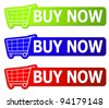 Three buy now signs with clipping path - stock photo