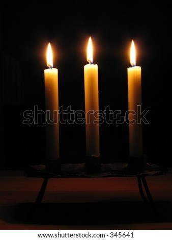 three candles - stock photo