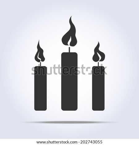 three candles icon with flame