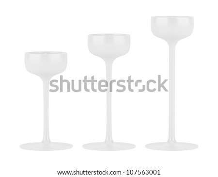 three candlesticks with small candles isolated on white background