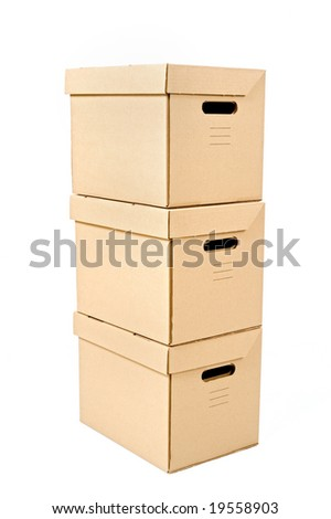 three cardboard box isolated on white - stock photo