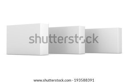 three cardboard boxes in a row - stock photo