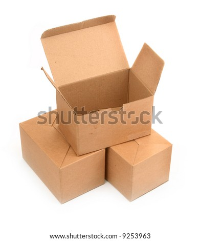 three cardboard boxes on white, minimal shadow in front