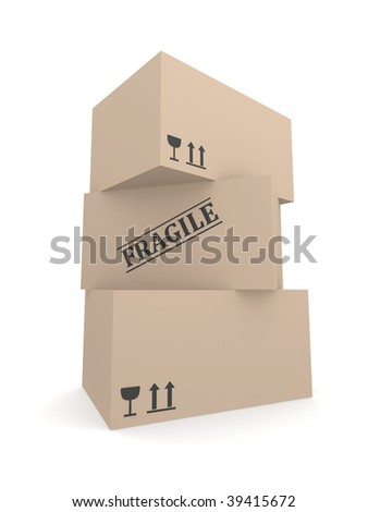 Three cardboard boxes with Fragile labels and warning symbols rendered in 3D - stock photo