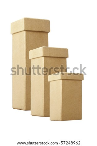 Three cardboard boxes with lids in different sizes isolated over white background. - stock photo