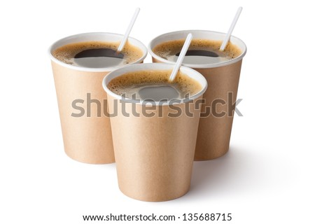 Three cardboard vending coffee cups. Isolated on a white. - stock photo