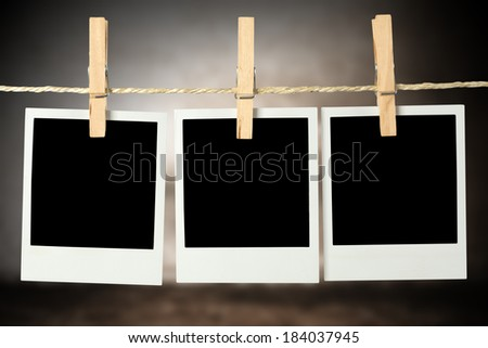 three cards and wall with shadows  - stock photo