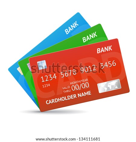 three cards, credit cards