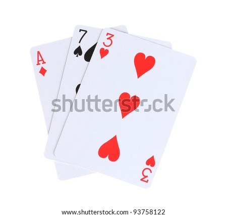 Three cards isolated on white - stock photo