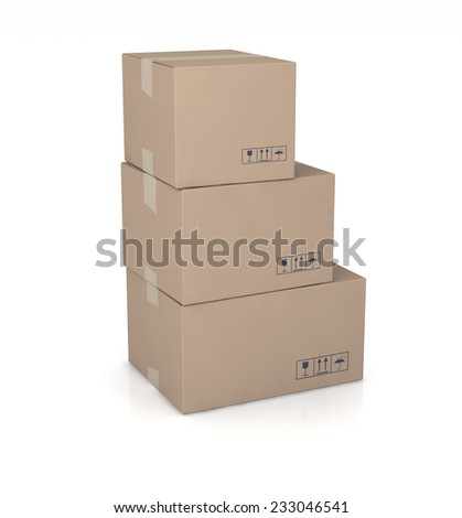 three cartons on white background with shadow.