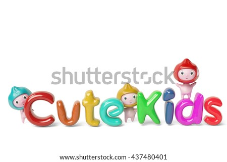 Three cartoon boy and the cute kids letters,3D illustration. - stock photo