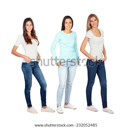 Three casual young women isolated on a white background - stock photo