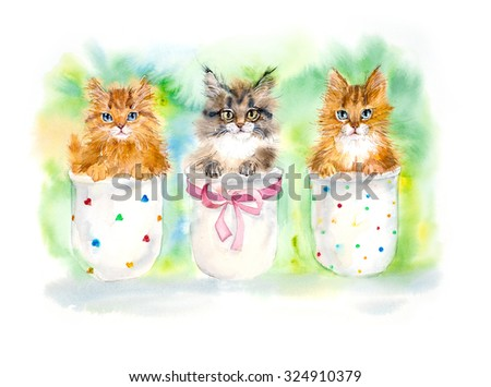 Three cats sit on a flowerpot. Watercolor hand drawn illustration. - stock photo