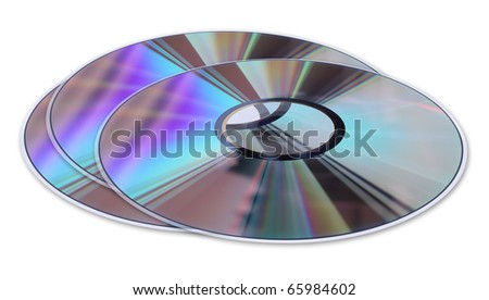 Three  CD / DVD disks isolated on white. No scratches or dust. - stock photo
