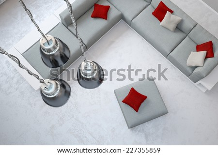 Three ceiling lamps hanging in living room over sofa from above (3D Rendering) - stock photo
