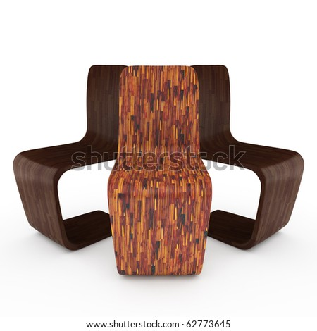 three chairs on white background. 3D illustration - stock photo