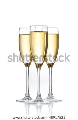 three champagne glasses - stock photo
