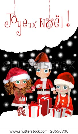 three characters with clothing Christmas and presents - stock photo