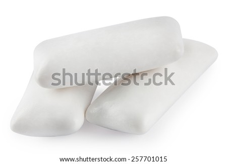 Three chewing gum isolated on white background - stock photo